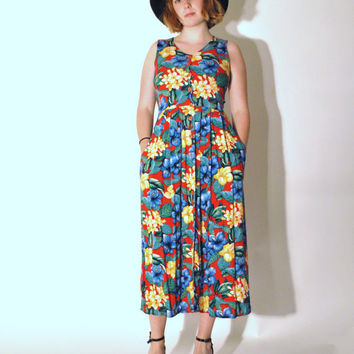 80s tropical print summer midi dress medium