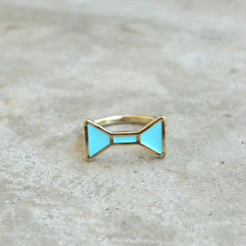 Blue Tie Bow Ring [5688] - $12.00 : Vintage Inspired Clothing & Affordable Dresses, deloom | Modern. Vintage. Crafted.
