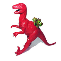 Huge Red Recycled Velociraptor Dinosaur Planter - With Succulent Plant