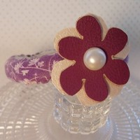 Purple Flower Bangle Bracelet Boho Fabric Jewelry Handmade