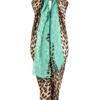 Solid Leopard Scarf with Colored Ends