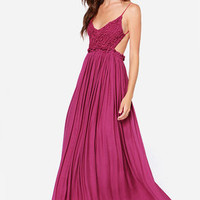 LULUS Exclusive Blooming Prairie Crocheted Berry Pink Maxi Dress