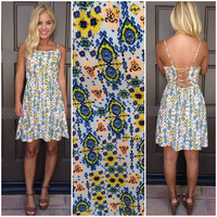 Wild Sunflower Corset Back Detail Dress