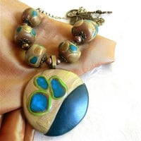 Teal, Gold, Green and Copper Hand Sculpted Pendant, Beaded Necklace | craftsofthepast - Jewelry on ArtFire