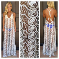 Valerian Crochet Lace Maxi Dress by SKY - T304OR