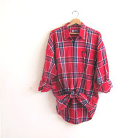 20% OFF SALE. vintage red plaid shirt. button down shirt. oversized cotton shirt. mens size XL
