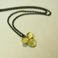 Tiny 18k gold Hydrangea Flower on Blackened chain