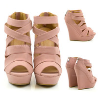 Paris Rose Caged Wedges