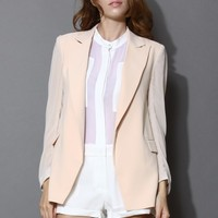 Chiffon Blazer with Sheer Panels in Nude