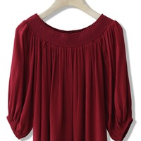 Sunny Day Off-shoulder Crepe Top in Wine