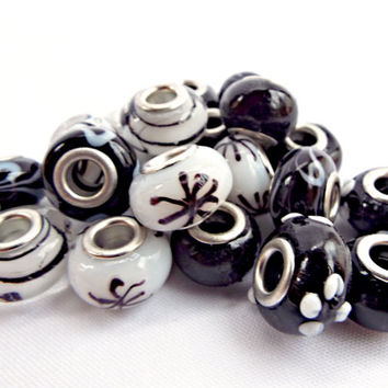 Black and White Bead, 20 European Style Glass Beads Mixed Patterns, 13 to 16mm Beads, Round Glass Beads in 4 Styles, Big Hole Beads