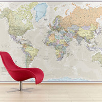 Giant World Map Mural Classic