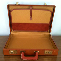 Vintage mens brown leather brief case with brass details