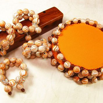 Handmade Beaded Drink Coasters and Napkin Holders, Orange, Set of 4