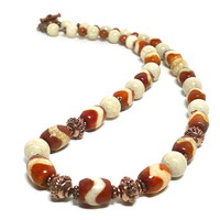 Brown and Tan Agate with Copper- Natural Riverstone Gemstone Necklace