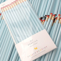 Pastel Blue Pencils, set of 12, Preppy School Supplies