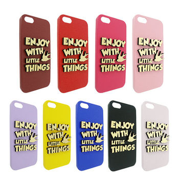 Enjoy With Little Things 3d  Wood For Iphone 5, Iphone 4/4s