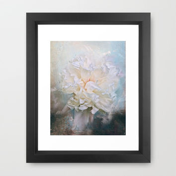 Abstract Peony in Blue Framed Art Print by Jai Johnson