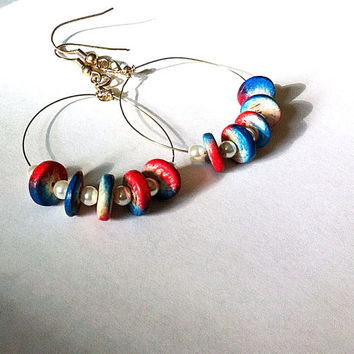 Red white and blue hoop earrings, circle earrings, wooden earrings, geometric earrings, patriotic earrings, gifts for her, blue earrings