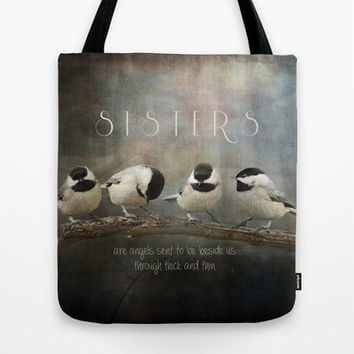 Sisters - Chickadees - Birds Tote Bag by Jai Johnson