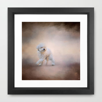 On the Go - Bichon Frise Framed Art Print by Jai Johnson