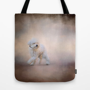 On the Go - Bichon Frise Tote Bag by Jai Johnson