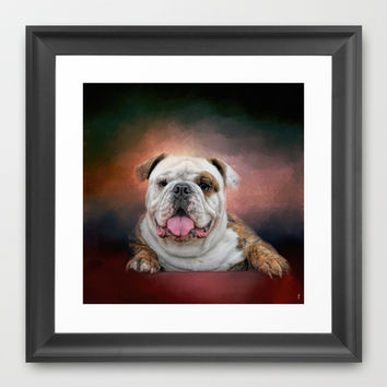 Hanging Out - Bulldog Framed Art Print by Jai Johnson