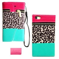 Wireless Fones TM Branded iPhone 5 5G 5S Premium Faux Leather Color Block Leopard Wallet Case