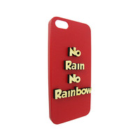 No Rain No Rainbow 3D Wood Typography For Iphone 5, Iphone 4/4s