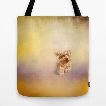 Into the Wind - Yorkshire Terrier Tote Bag by Jai Johnson