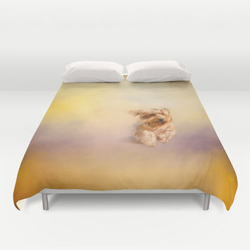 Into the Wind - Yorkshire Terrier Duvet Cover by Jai Johnson
