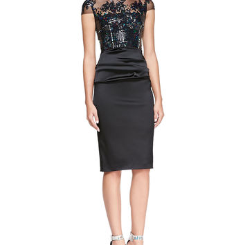 Talbot Runhof Illusion Sequined-Bodice Cocktail Dress