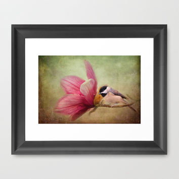 Welcome Spring - Chickadee - Bird and Flower Framed Art Print by Jai Johnson