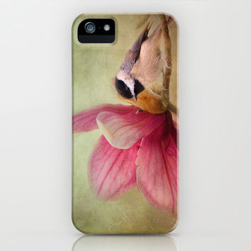 Welcome Spring - Chickadee - Bird and Flower iPhone & iPod Case by Jai Johnson