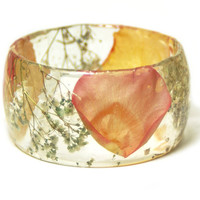Flower Jewelry- Real Flower Jewelry- Peach Bangle- Rose Petal Jewelry- Resin Jewelry- Flower Bangle- Flower Resin Bracelet