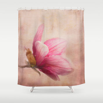 Pink Magnolia I - Flower Art Shower Curtain by Jai Johnson