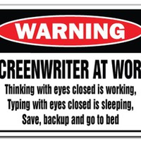 SCREENWRITER AT WORK Warning Sign gag novelty gift funny writer script tv movie