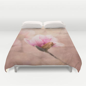 Pink Magnolia II - Flower Art Duvet Cover by Jai Johnson