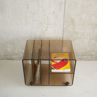 1970'S Perspex Cabinet For Lp's, Magazines And Books
