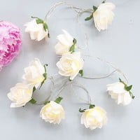 White Rose Light Garland