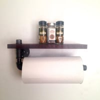 Memphis Street Paper Towel Holder // Spice Rack Shelf // Wood & Pipe