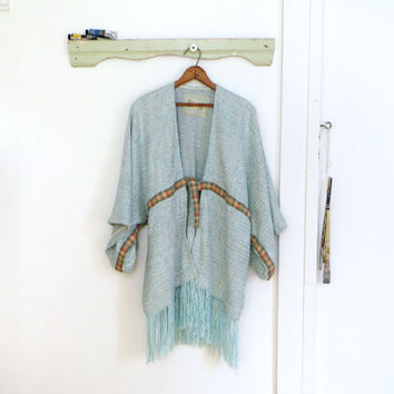 Kimono jacket, fringed hippie clothing, artistic clothing, women romantic boho clothing, light blue, unstructured light weight wrap