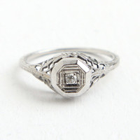 Antique 18k White Gold Art Deco Diamond Ring - Size 4 3/4 Vintage Filigree 1920s Solitaire Flower Fine Jewelry