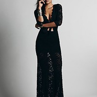 Womens Cutout Maxi Dress - Black,