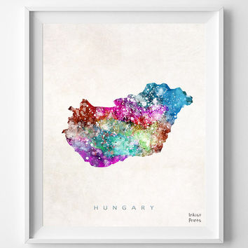 Hungary Map, Watercolor, Budapest, Home Town, Poster, art, Hungarian, Country, Wall Decor, Nursery, Painting, Bedroom, world map [NO 450]