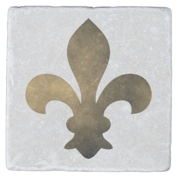 Black Gold French Fleur de Lis Stone Coaster
