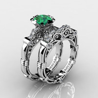 Art Masters Caravaggio 14K White Gold 1.0 Ct Emerald Diamond Engagement Ring Wedding Band Set R623S-14KWGDEM