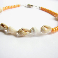 Orange Anklet, Bead Sea Shell Ankle Bracelet  Bohemian Beach Jewelry Tangerine Ankle Jewelry