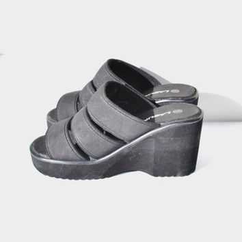 size 8 strappy black mega platform slip on mule sandals