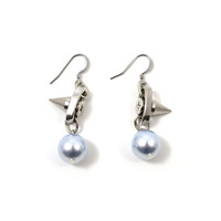 Lost Innocence Spike and Chain Earrings W/Light Blue Pearl - Rhodium/Light Blue/Silver Spikes